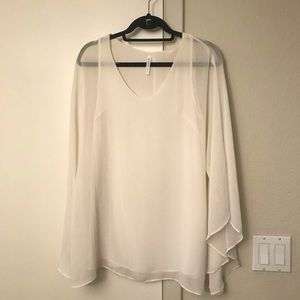 Audrey 3+1 White Bell Sleeve Tunic Top